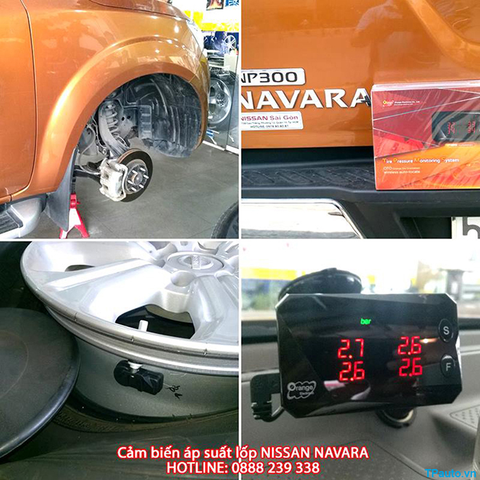 Lắp đặt cảm biến áp suất lốp Nissan Navara